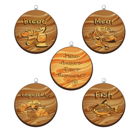 Set of four cutting wooden boards with printed text and image.