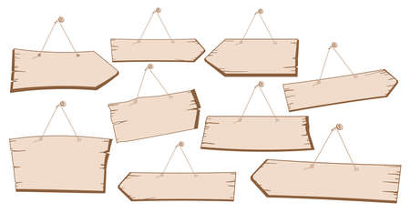 vector image set of hanging wooden street signs