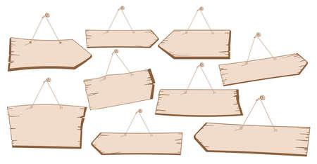 vector image set of hanging wooden street signs Stock Vector - 92748038