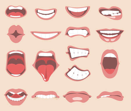 Facial expressions for female character illustration.  イラスト・ベクター素材
