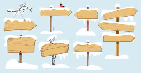 Set of wooden street signs in the snow. Stock Vector - 92700293