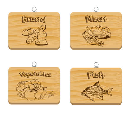 Set of four cutting wooden boards with printed text and image. Stock Vector - 92700294