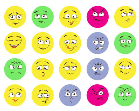 Set of emoticons, emoji isolated on white background Illustration