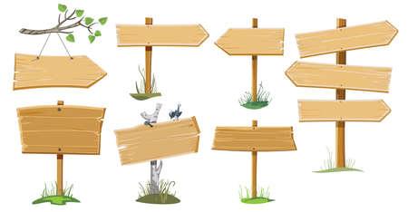 A set of several wooden street signs Illustration