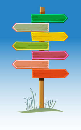 Wooden road sign for the recreation area Illustration