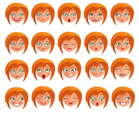 Cute young girl set with different expressions.A person's face with emotions, joy, sadness, anger, sadness