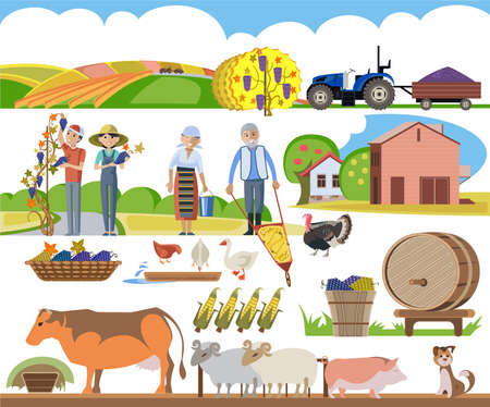 A set of agricultural elements, a peasant family performs agricultural work