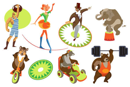 Set of isolated vector images circus actors and trained animals
