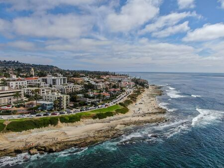 Aerial view of La Jolla Cove, small picturesque cove and beach surrounded by cliffs, San Diego, California.