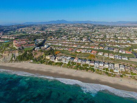 Aerial view of Salt Creek and Monarch beach coastline. Small neighborhood in Orange County City of Dana Point. California, USA. Aerial view of wealthy villa and coastline.