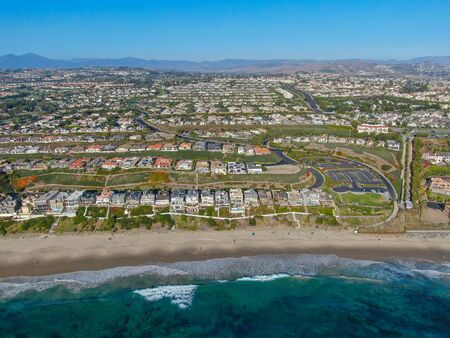 Aerial view of Salt Creek and Monarch beach coastline. Small neighborhood in Orange County City of Dana Point. California, USA. Aerial view of wealthy villa and coastline.