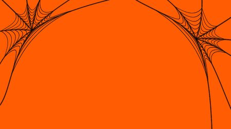 Illustration of spiders web on orange background. Halloween scary concept