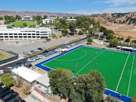 Aerial view of field hockey with players at Moorpark College. Ventura County in Southern California. USA. August, 30, 2019 Editorial
