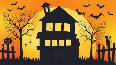 Spooky halloween background, horror orange background. Celebration theme, Halloween concept.