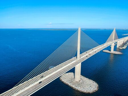 Aerial view of Sunshine Skyway, Tampa Bay Florida, USA. Big steel cable suspension bridge. Stock Photo - 131912933