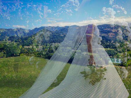 Bride Silhouette over nature landscape. Bride in Wedding Dress over green landscape and blue Sky. Romantic, Wedding Concept.