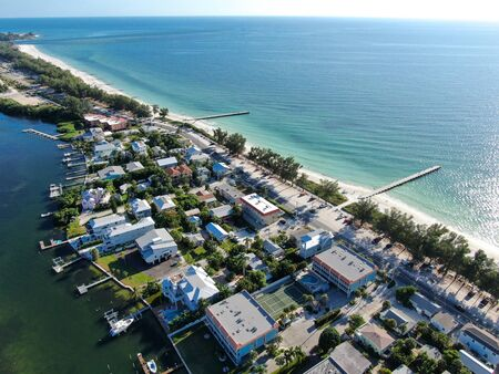 Aerial view of Anna Maria Island town and beaches, barrier island on Florida Gulf Coast. Manatee County. USA