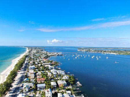 Aerial view of Anna Maria Island town and beaches, barrier island on Florida Gulf Coast. Manatee County. USA