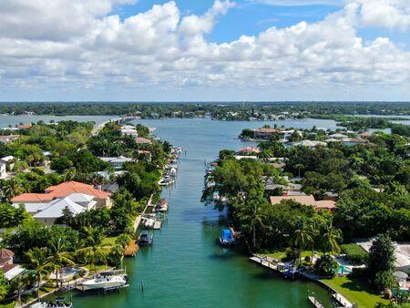 Aerial view of Bay Island neighborhood and luxury villas next the ocean, in Sarasota, Florida, USA
