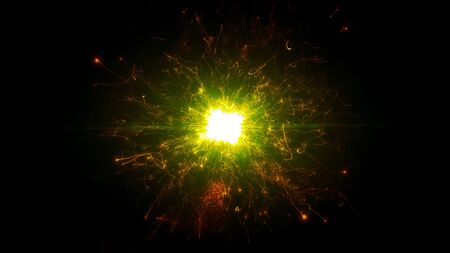 Gold and yellow futuristic space particles in bright round energy structure. space orb VFX design element. Abstract colorful lights background animation energy ray of power electric magnetic.