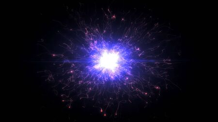 Pink and purple futuristic space particles in bright round energy structure. space orb VFX design element. Abstract colorful lights background animation energy ray of power electric magnetic. Фото со стока
