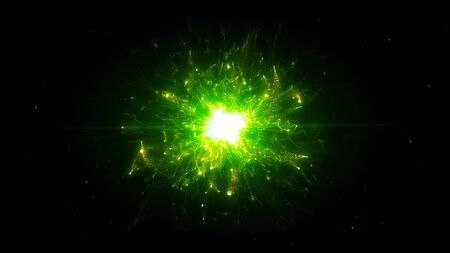 Green futuristic space particles in bright round energy structure. space orb VFX design element. Abstract colorful lights background animation energy ray of power electric magnetic. 写真素材