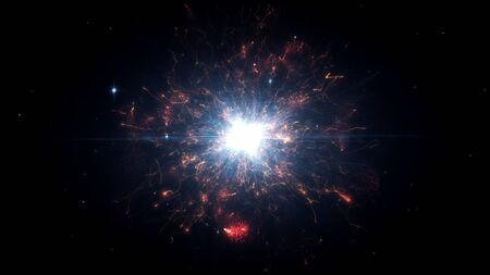 Red futuristic space particles in bright round energy structure. space orb VFX design element. Abstract colorful lights background animation energy ray of power electric magnetic.