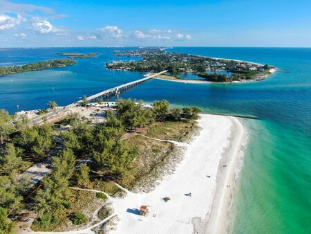 Aerial view of bridge between Anna Maria Island and Longboat key, barrier island on Florida Gulf Coast. Manatee County. USA