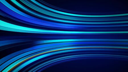 Blue colorful abstract background with animation moving of lines for fiber optic network. Magic flickering glowing flying lines. Animation of seamless loop. Bright thick stripes flying.