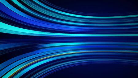 Sfondo astratto colorato blu con animazione in movimento di linee per rete in fibra ottica. Linee di volo incandescenti tremolanti magiche. Animazione di loop senza soluzione di continuità. Strisce spesse luminose che volano.