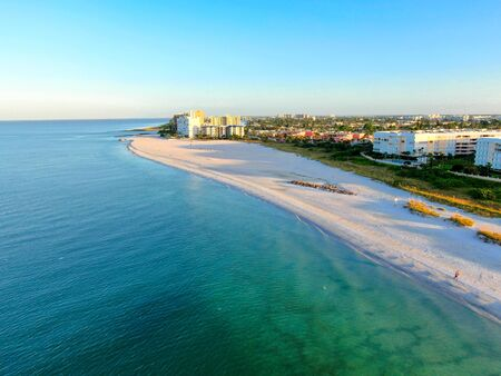 Aerial view of St Pete beach and resorts in St Petersburg, Florida USA 스톡 콘텐츠