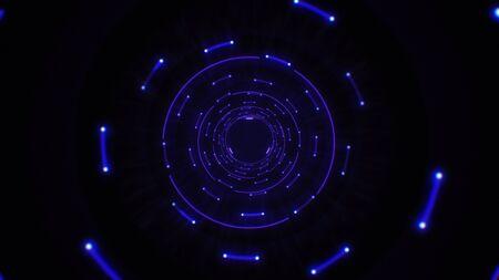 Círculos de luz abstractos rosados y púrpuras bucle sin fisuras. Animación de un bucle de túnel de fondo abstracto con círculos de luz brillantes. Espacio de neón de iluminación futurista. Túnel de neón de círculos abstractos.