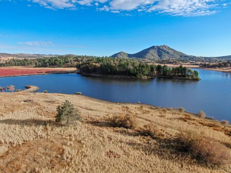 Aerial view of Lake Cuyamaca, 110 acres reservoir and a recreation area in the eastern Cuyamaca Mountains, located in eastern San Diego County, California, USA 写真素材