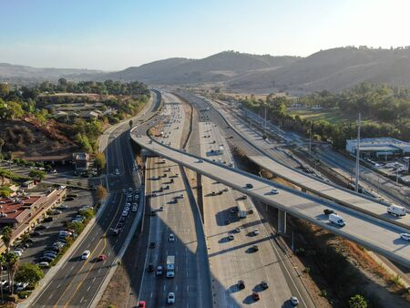 Aerial view of the San Diego freeway, Southern California freeways, USA