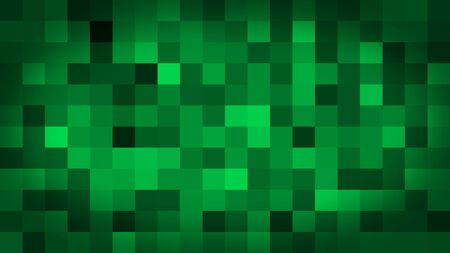 Green motion abstract background colorful pixels flashing and switch. Animation background glowing of mosaic tiles. Moving technologic squares with shine light. Abstract Red Squares background