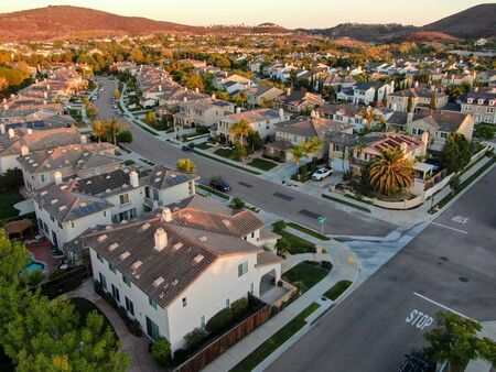 Aerial view of residential modern subdivision luxury house neighborhood. South California, USA
