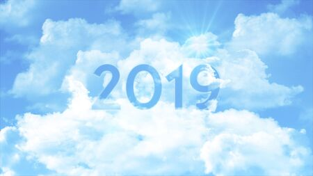 Number 2019 in the clouds and colorful sky, business concept for presentation