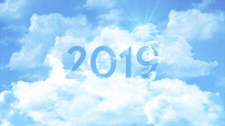 Numero 2019 tra le nuvole e il cielo colorato, concetto aziendale per la presentazione