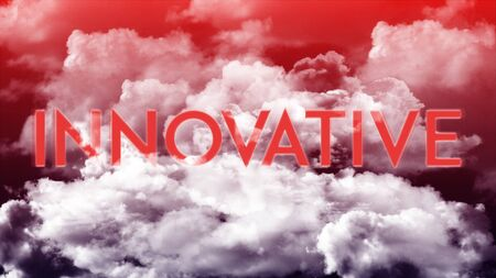 Word INNOVATIVE in the clouds and colorful sky, business concept for presentation Stok Fotoğraf