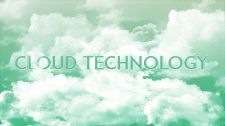 Word CLOUD CONNECTION in the clouds and colorful sky, business concept for presentation