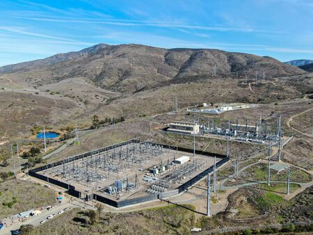 High voltage power electric station with dry mountain background in Chula Vista, California, USA