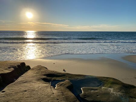 La Jolla shores and beach before sunset twilight in La Jolla San Diego, Southern California Coast. USA. Blue waters of the Pacific Ocean Coastline Stock fotó