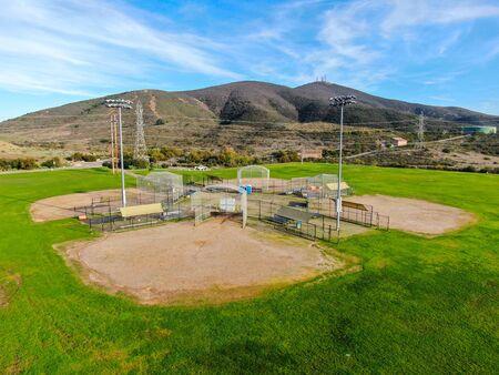 Aerial top view of Community park baseball sports field. Black Mountain Ranch Park, San Diego, USA Stock fotó