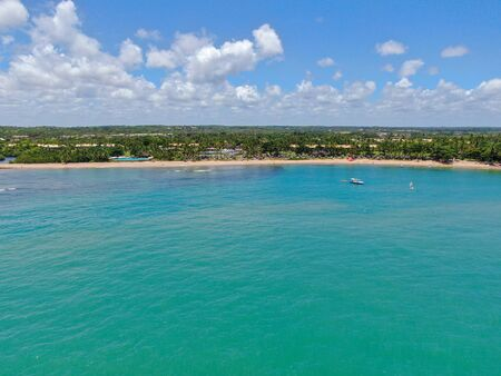 Aerial view of tropical white sand beach, palm trees and turquoise clear sea water in Praia do Forte, Bahia, Brazil. Travel tropical destination in Brazil Archivio Fotografico - 137918257