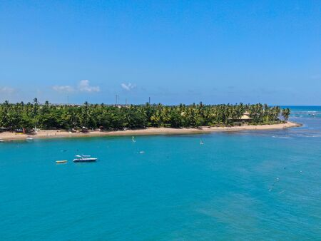 Aerial view of tropical white sand beach, palm trees and turquoise clear sea water in Praia do Forte, Bahia, Brazil. Travel tropical destination in Brazil Archivio Fotografico - 137918596