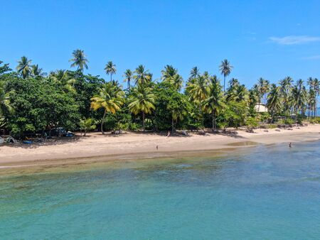 Aerial view of tropical white sand beach, palm trees and turquoise clear sea water in Praia do Forte, Bahia, Brazil. Travel tropical destination in Brazil Archivio Fotografico - 137918731