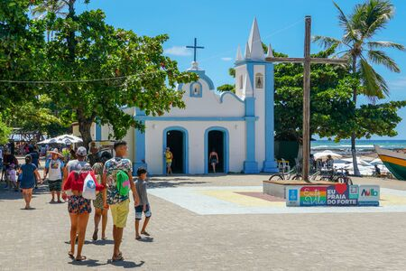 February  22nd, 2019: Church of Sao Francisco De Assis. Little church in the middle of the village of Praia Do Forte, Famous tourist attraction. State of Bahia, Brazil. Zdjęcie Seryjne - 138487178