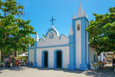 February  22nd, 2019: Church of Sao Francisco De Assis. Little church in the middle of the village of Praia Do Forte, Famous tourist attraction in state of Bahia, Brazil.