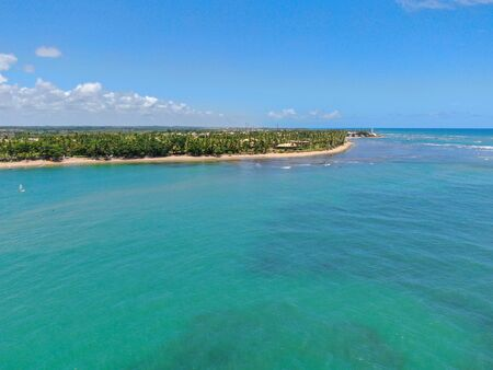 Aerial view of tropical white sand beach, palm trees and turquoise clear sea water in Praia do Forte, Bahia, Brazil. Travel tropical destination in Brazil Zdjęcie Seryjne