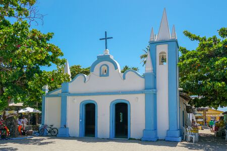 February  22nd, 2019: Church of Sao Francisco De Assis. Little church in the middle of the village of Praia Do Forte. Famous tourist attraction, State of Bahia, Brazil. Zdjęcie Seryjne - 138487192